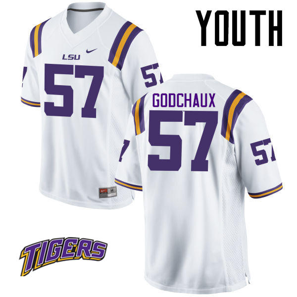 Youth #57 Davon Godchaux LSU Tigers College Football Jerseys-White