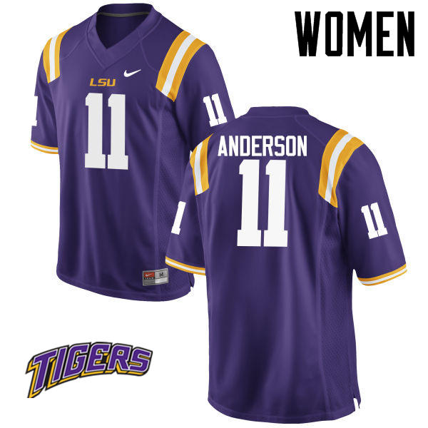 Women's #11 Dee Anderson LSU Tigers College Football Jerseys-Purple