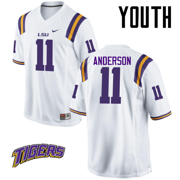 Youth #11 Dee Anderson LSU Tigers College Football Jerseys-White