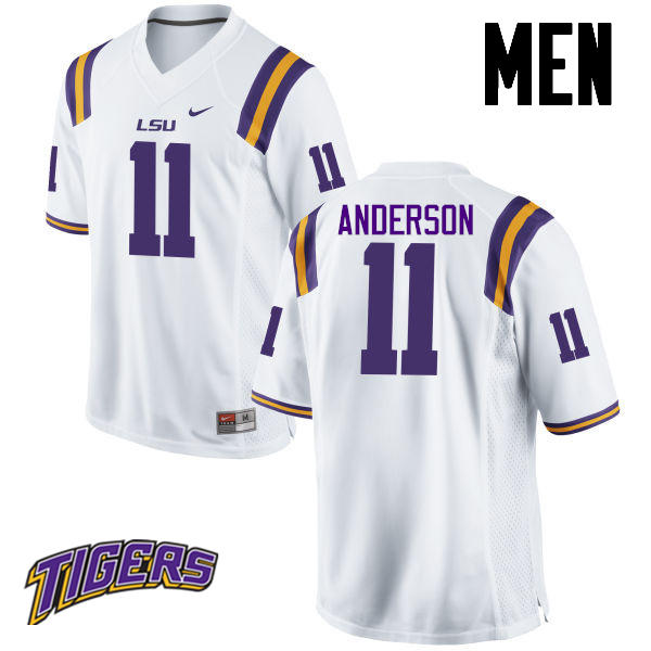 Men's #11 Dee Anderson LSU Tigers College Football Jerseys-White