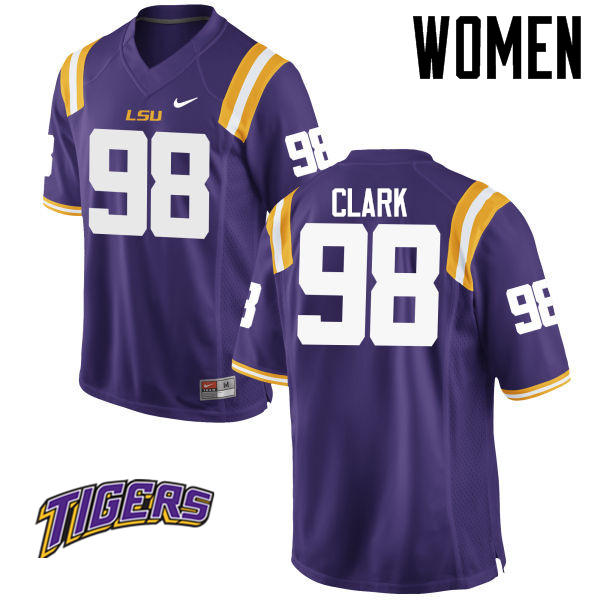 Women's #98 Deondre Clark LSU Tigers College Football Jerseys-Purple