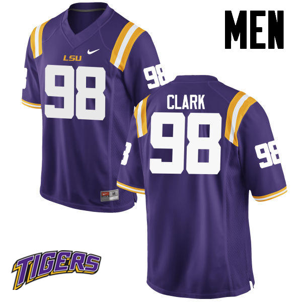 Men's #98 Deondre Clark LSU Tigers College Football Jerseys-Purple