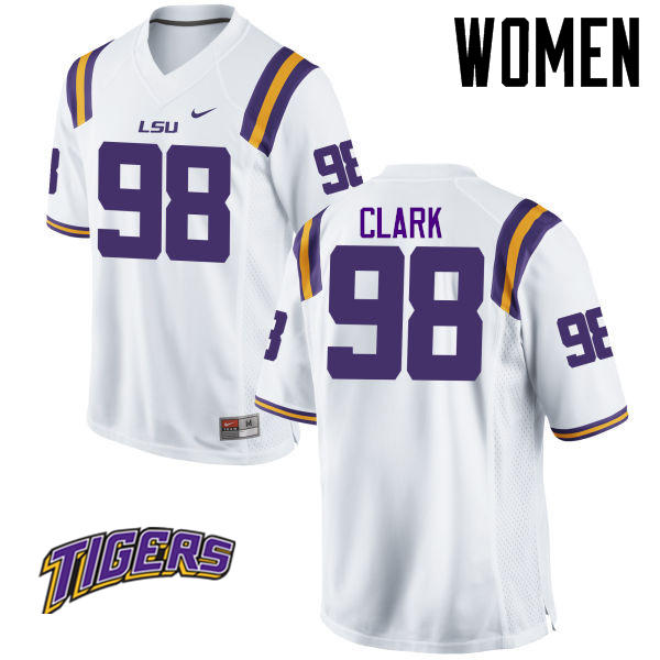 Women's #98 Deondre Clark LSU Tigers College Football Jerseys-White