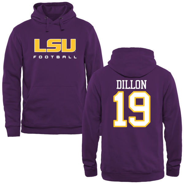 Men's #19 Derrick Dillon LSU Tiges College Football Name&Number Hoodies-Purple