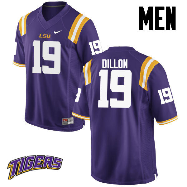 Men's #19 Derrick Dillon LSU Tigers College Football Jerseys-Purple