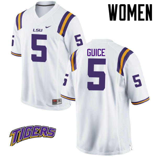 Women's #5 Derrius Guice LSU Tigers College Football Jerseys-White