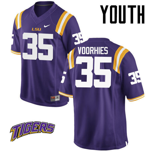 Youth #35 Devin Voorhies LSU Tigers College Football Jerseys-Purple
