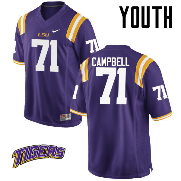 Youth #71 Donavaughn Campbell LSU Tigers College Football Jerseys-Purple