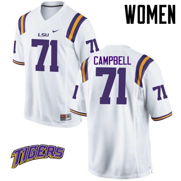 Women's #71 Donavaughn Campbell LSU Tigers College Football Jerseys-White