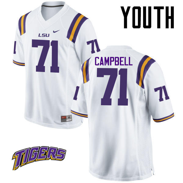 Youth #71 Donavaughn Campbell LSU Tigers College Football Jerseys-White