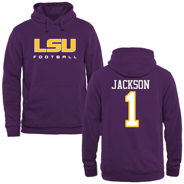 Men's #1 Donte Jackson LSU Tiges College Football Name&Number Hoodies-Purple