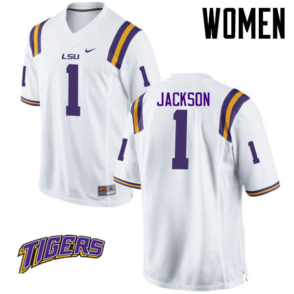 Women's #1 Donte Jackson LSU Tigers College Football Jerseys-White