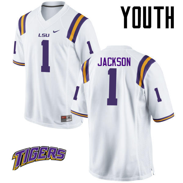 Youth #1 Donte Jackson LSU Tigers College Football Jerseys-White