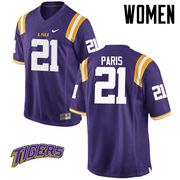 Women's #21 Ed Paris LSU Tigers College Football Jerseys-Purple