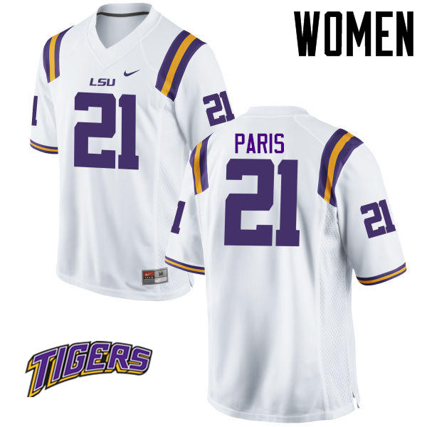 Women's #21 Ed Paris LSU Tigers College Football Jerseys-White