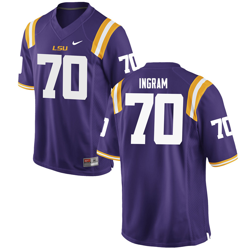 Men #70 Edward Ingram LSU Tigers College Football Jerseys Sale-Purple