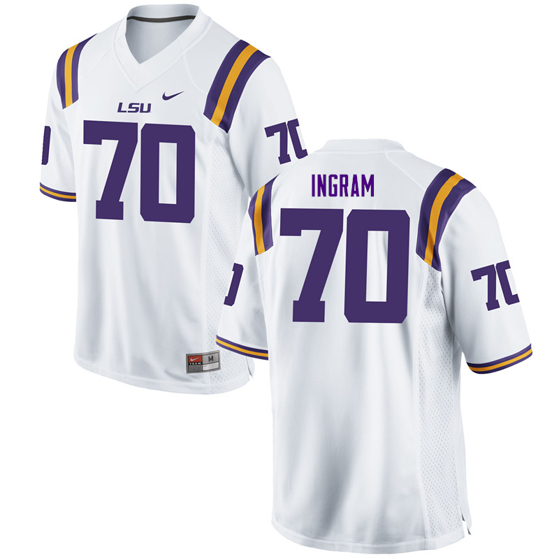 Men #70 Edward Ingram LSU Tigers College Football Jerseys Sale-White