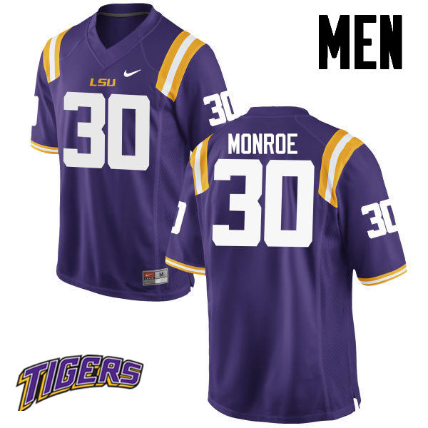 Men's #30 Eric Monroe LSU Tigers College Football Jerseys-Purple