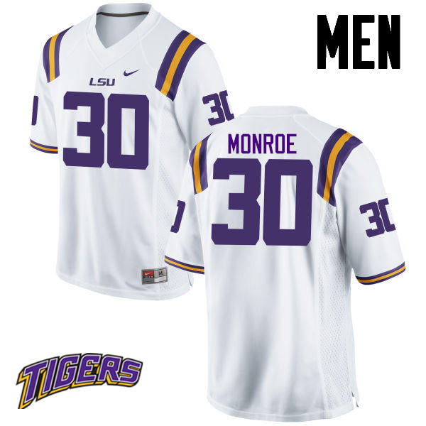Men's #30 Eric Monroe LSU Tigers College Football Jerseys-White