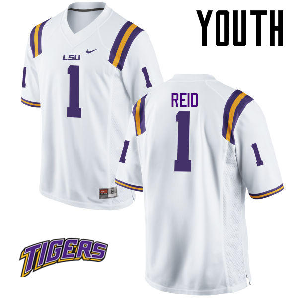 Youth #1 Eric Reid LSU Tigers College Football Jerseys-White