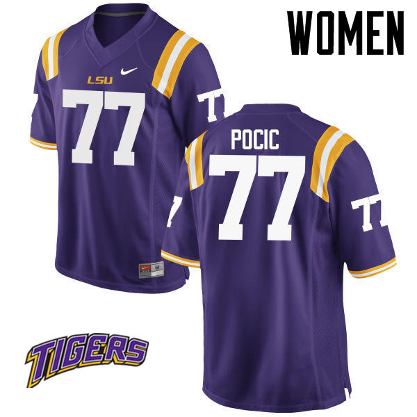 Women's #77 Ethan Pocic LSU Tigers College Football Jerseys-Purple