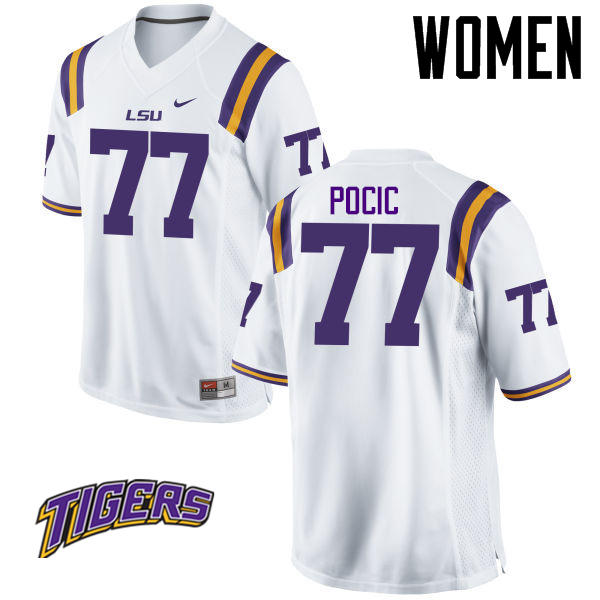 Women's #77 Ethan Pocic LSU Tigers College Football Jerseys-White