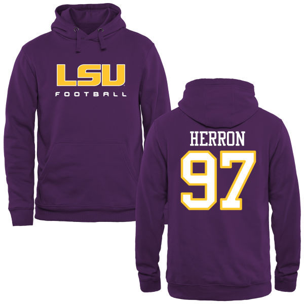 Men's #97 Frank Herron LSU Tiges College Football Name&Number Hoodies-Purple