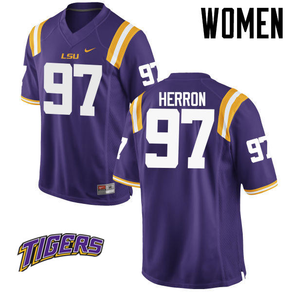 Women's #97 Frank Herron LSU Tigers College Football Jerseys-Purple