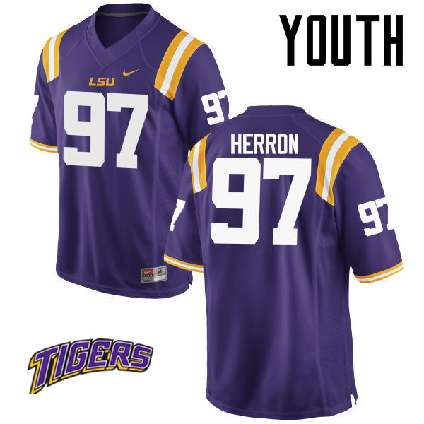 Youth #97 Frank Herron LSU Tigers College Football Jerseys-Purple