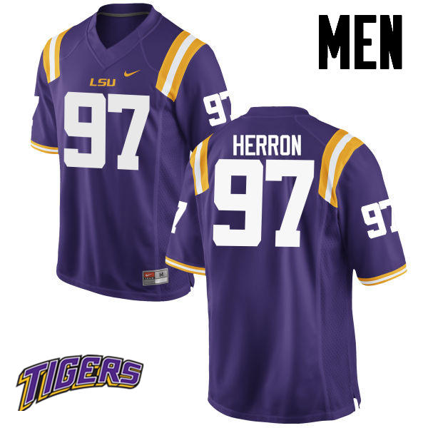 Men's #97 Frank Herron LSU Tigers College Football Jerseys-Purple