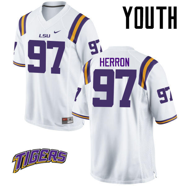 Youth #97 Frank Herron LSU Tigers College Football Jerseys-White