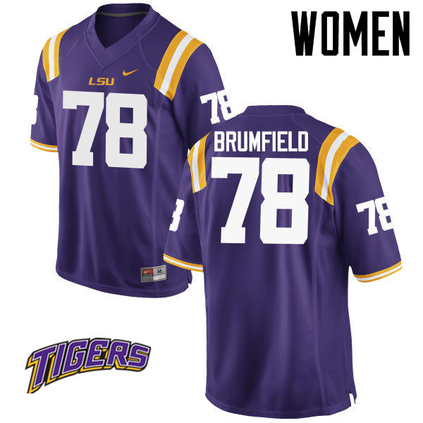 Women's #78 Garrett Brumfield LSU Tigers College Football Jerseys-Purple