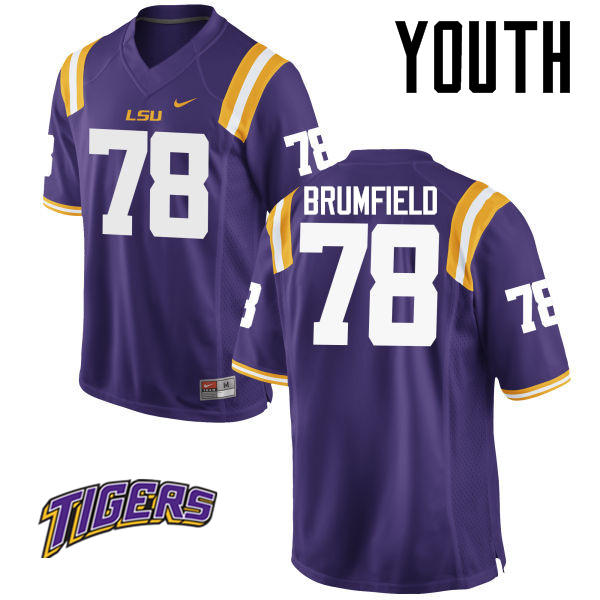 Youth #78 Garrett Brumfield LSU Tigers College Football Jerseys-Purple