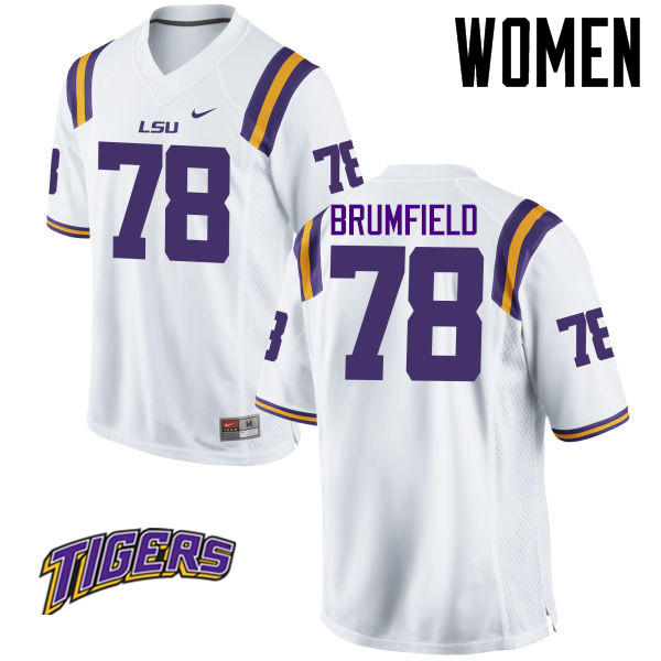 Women's #78 Garrett Brumfield LSU Tigers College Football Jerseys-White