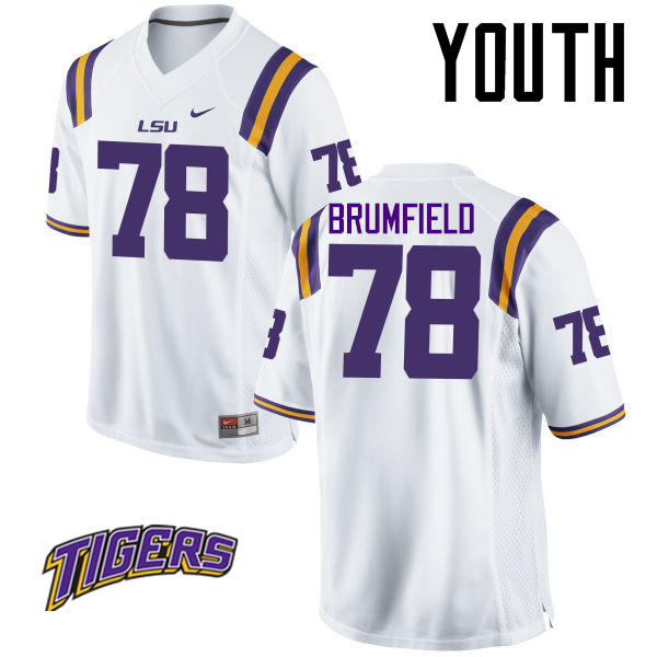 Youth #78 Garrett Brumfield LSU Tigers College Football Jerseys-White