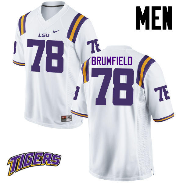 Men's #78 Garrett Brumfield LSU Tigers College Football Jerseys-White