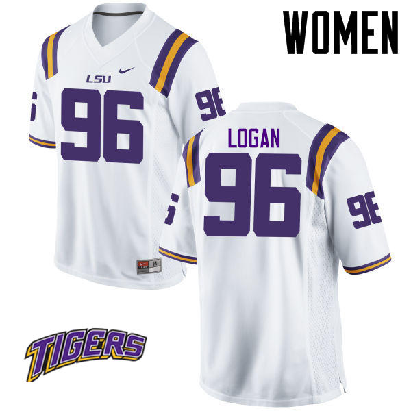Women's #96 Glen Logan LSU Tigers College Football Jerseys-White