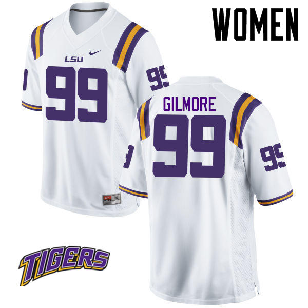 Women's #99 Greg Gilmore LSU Tigers College Football Jerseys-White
