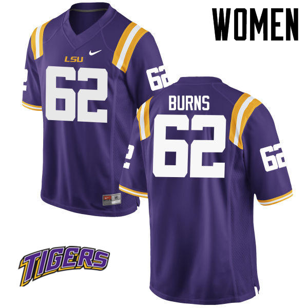 Women's #62 Hunter Burns LSU Tigers College Football Jerseys-Purple