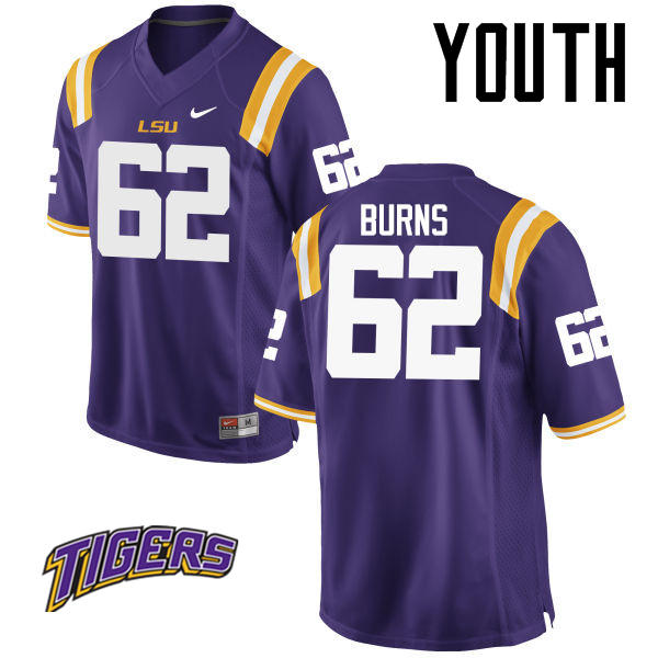 Youth #62 Hunter Burns LSU Tigers College Football Jerseys-Purple