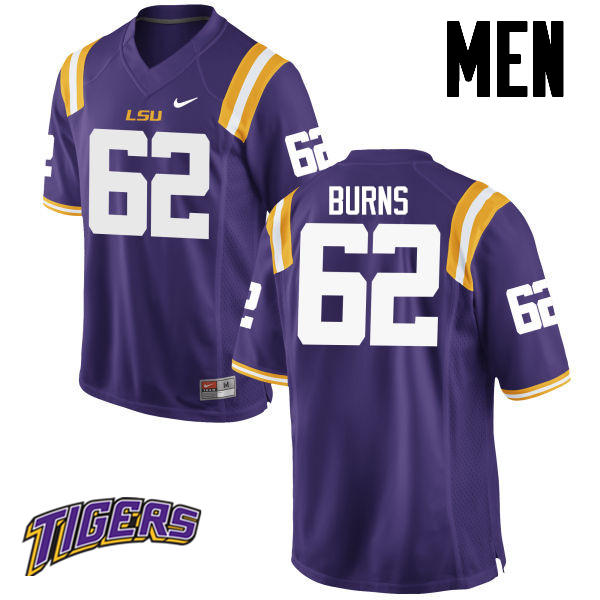 Men's #62 Hunter Burns LSU Tigers College Football Jerseys-Purple