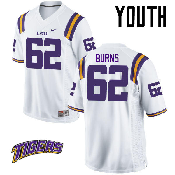 Youth #62 Hunter Burns LSU Tigers College Football Jerseys-White