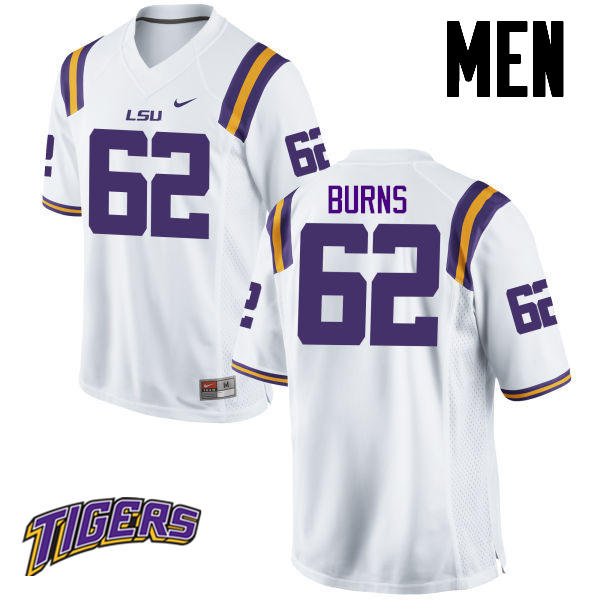 Men's #62 Hunter Burns LSU Tigers College Football Jerseys-White