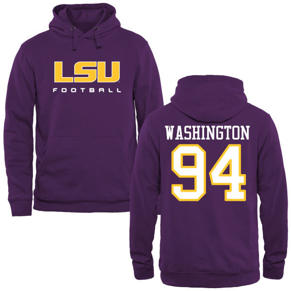 Men's #94 Isaiah Washington LSU Tiges College Football Name&Number Hoodies-Purple