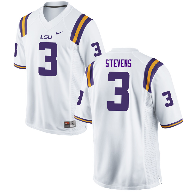 Men #3 JaCoby Stevens LSU Tigers College Football Jerseys Sale-White