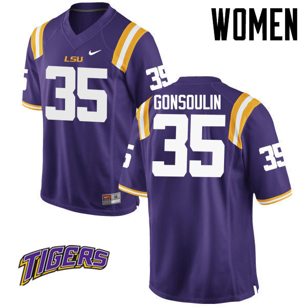 Women's #35 Jack Gonsoulin LSU Tigers College Football Jerseys-Purple