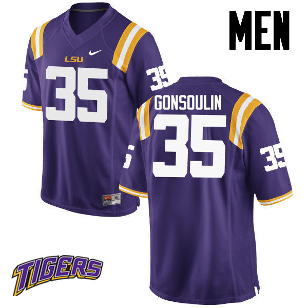Men's #35 Jack Gonsoulin LSU Tigers College Football Jerseys-Purple