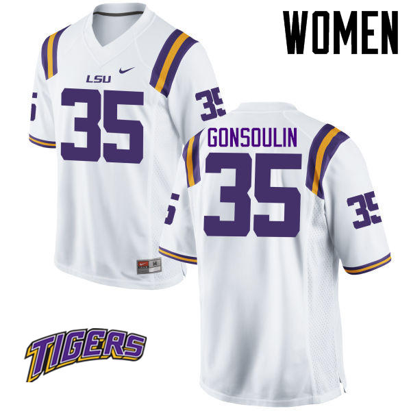 Women's #35 Jack Gonsoulin LSU Tigers College Football Jerseys-White