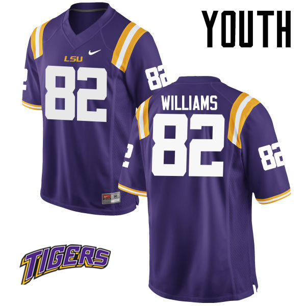 Youth #82 Jalen Williams LSU Tigers College Football Jerseys-Purple