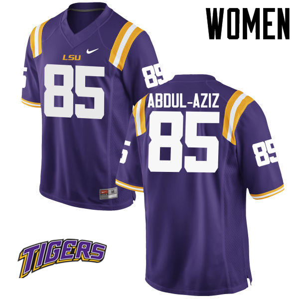 Women's #85 Jamil Abdul-Aziz LSU Tigers College Football Jerseys-Purple